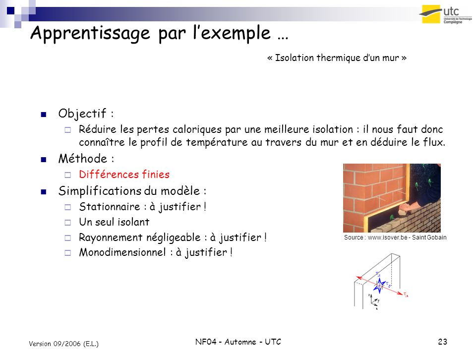 Apprentissage par l'exemple … « Isolation thermique d'un mur »