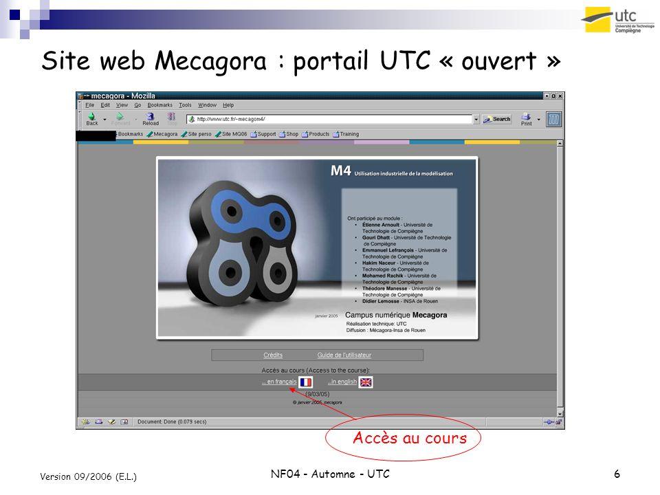 Site web Mecagora : portail UTC « ouvert »