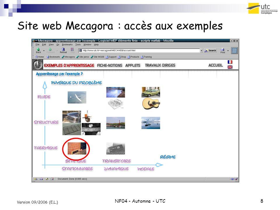 Site web Mecagora : accès aux exemples