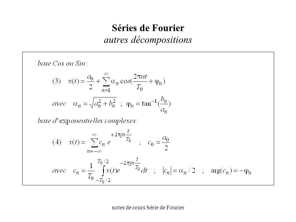 Séries de Fourier autres décompositions