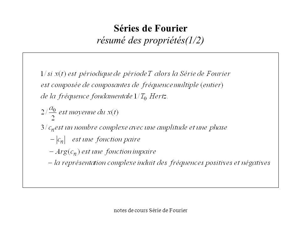 Séries de Fourier résumé des propriétés(1/2)