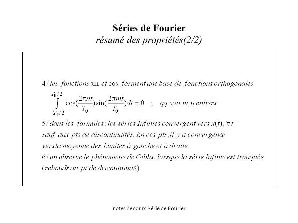 Séries de Fourier résumé des propriétés(2/2)