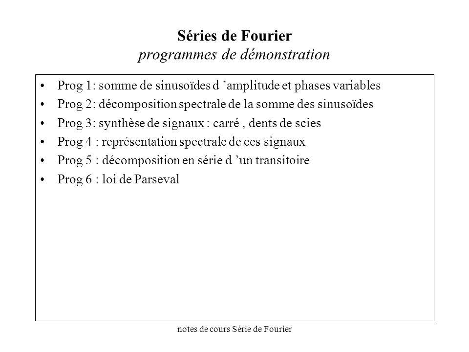 Séries de Fourier programmes de démonstration