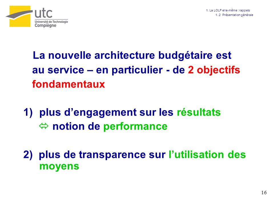 La nouvelle architecture budgétaire est