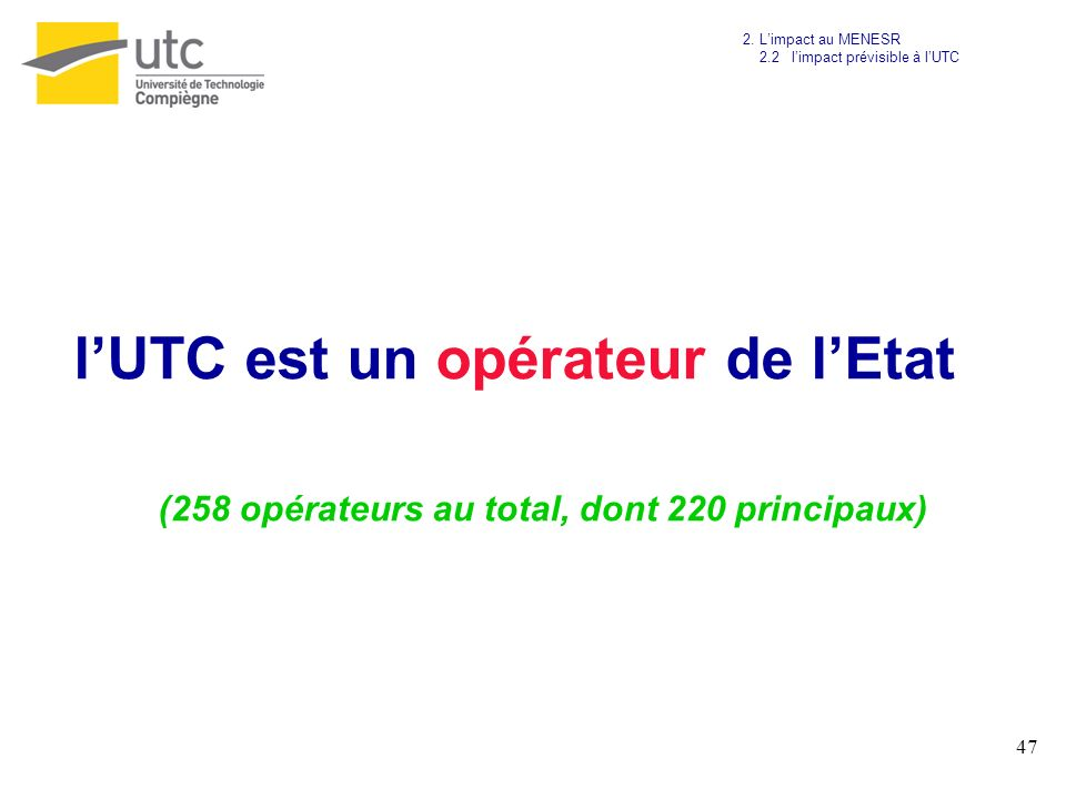 (258 opérateurs au total, dont 220 principaux)