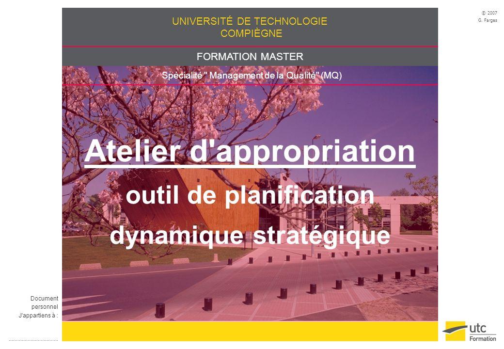 Atelier d appropriation outil de planification dynamique stratégique