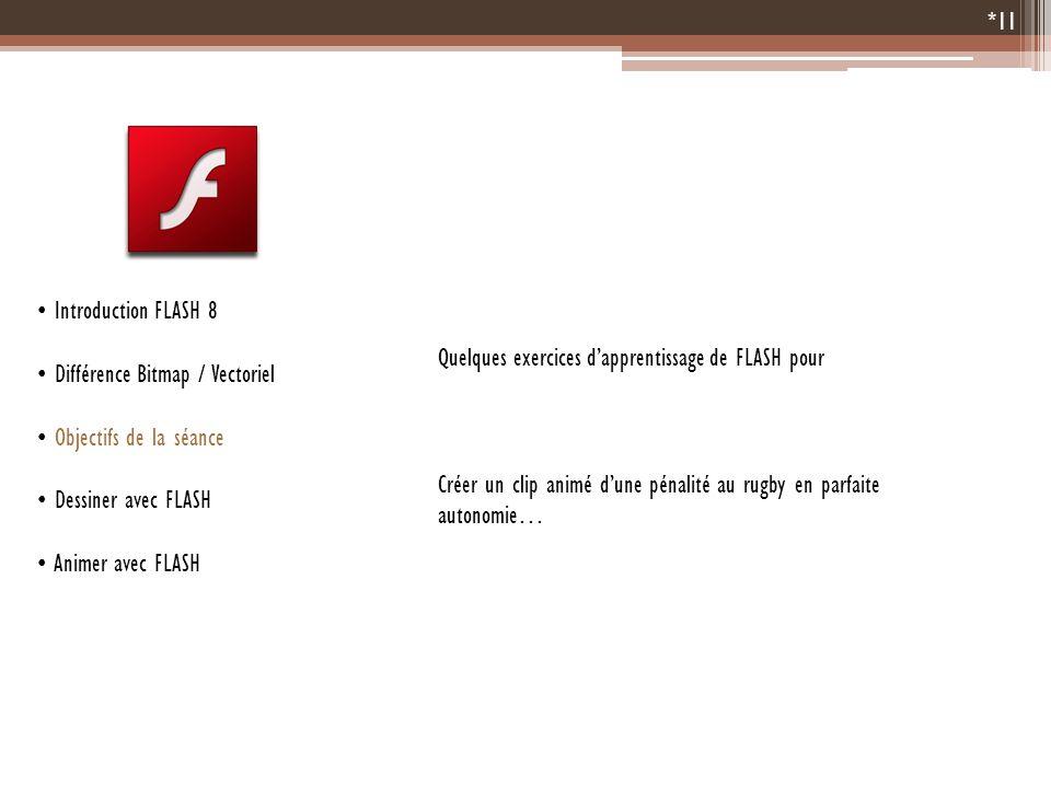 Introduction FLASH 8Différence Bitmap / Vectoriel. Objectifs de la séance. Dessiner avec FLASH. Animer avec FLASH.