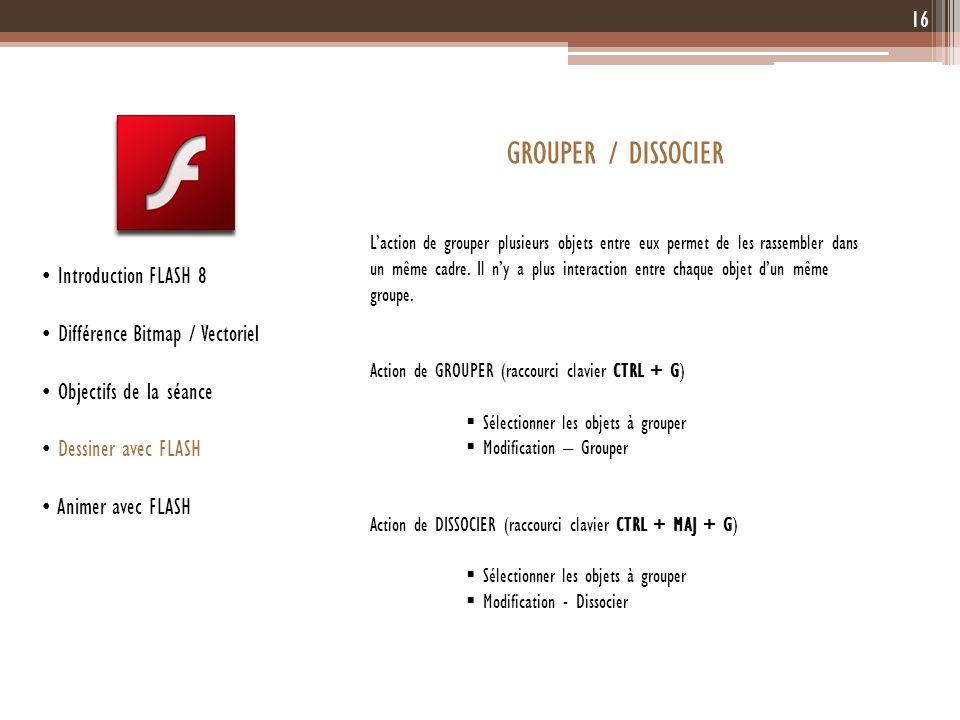 GROUPER / DISSOCIER Introduction FLASH 8 Différence Bitmap / Vectoriel