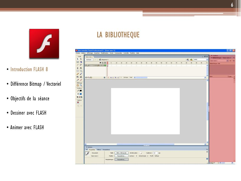 LA BIBLIOTHEQUE 6 Introduction FLASH 8 Différence Bitmap / Vectoriel