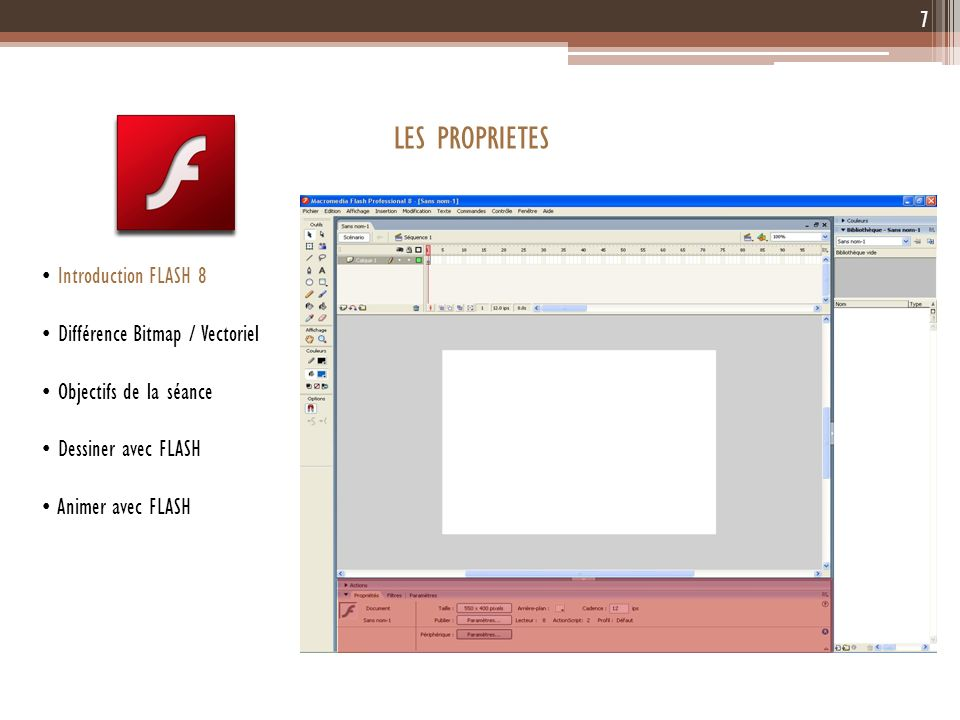 LES PROPRIETES 7 Introduction FLASH 8 Différence Bitmap / Vectoriel