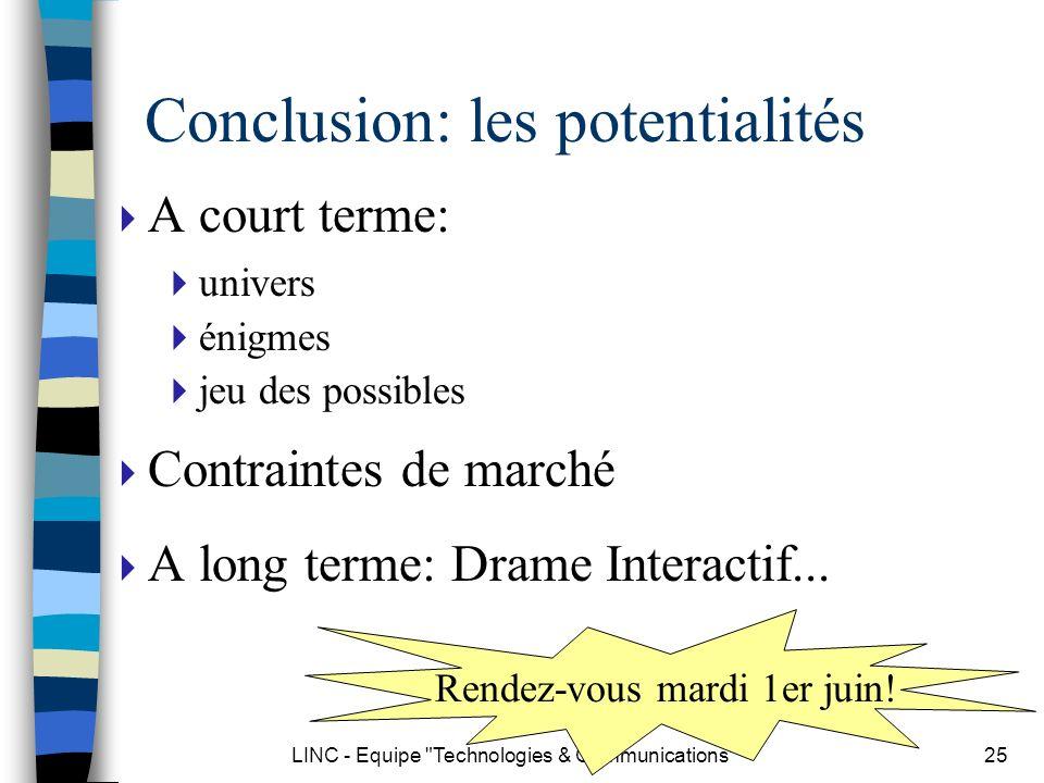 Conclusion: les potentialités