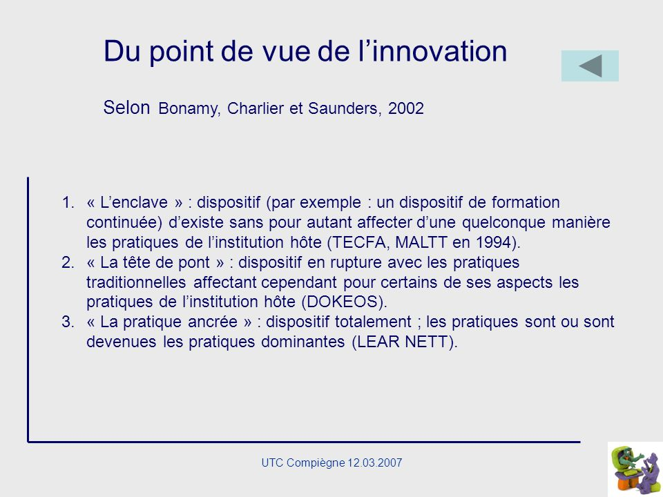Du point de vue de l'innovation