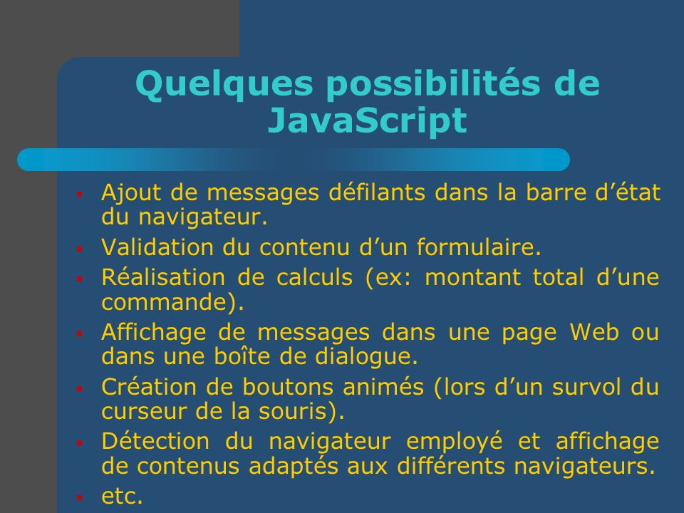 Quelques possibilités de JavaScript