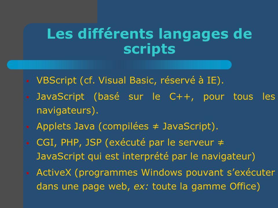 Les différents langages de scripts