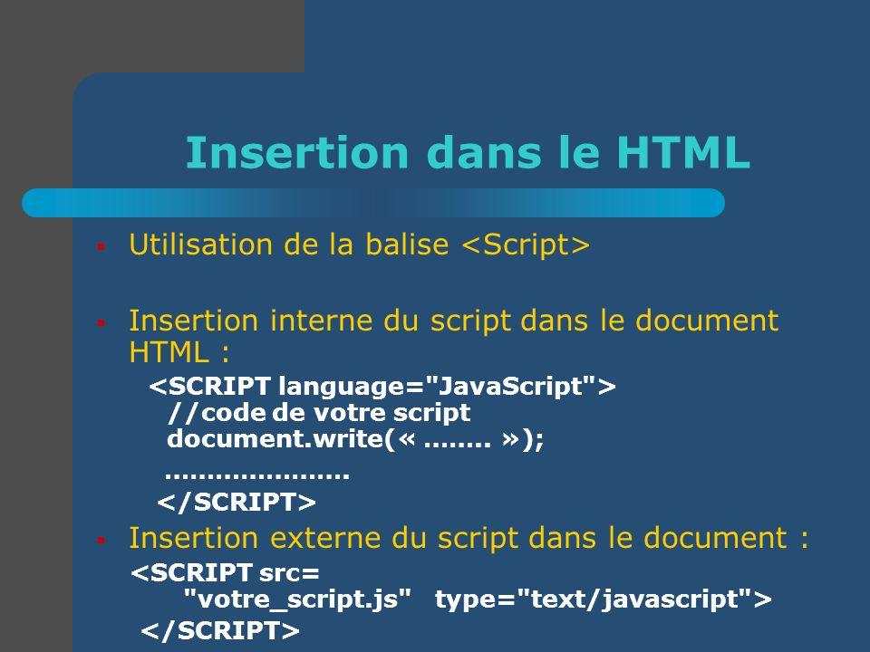 Insertion dans le HTML Utilisation de la balise <Script>