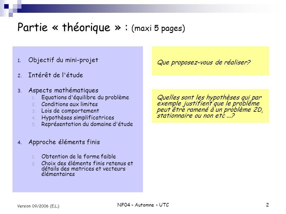 Partie « théorique » : (maxi 5 pages)