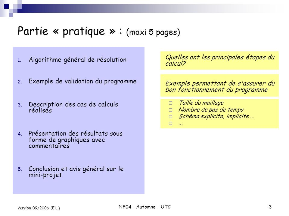 Partie « pratique » : (maxi 5 pages)