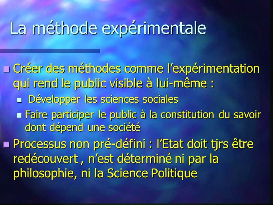 La méthode expérimentale