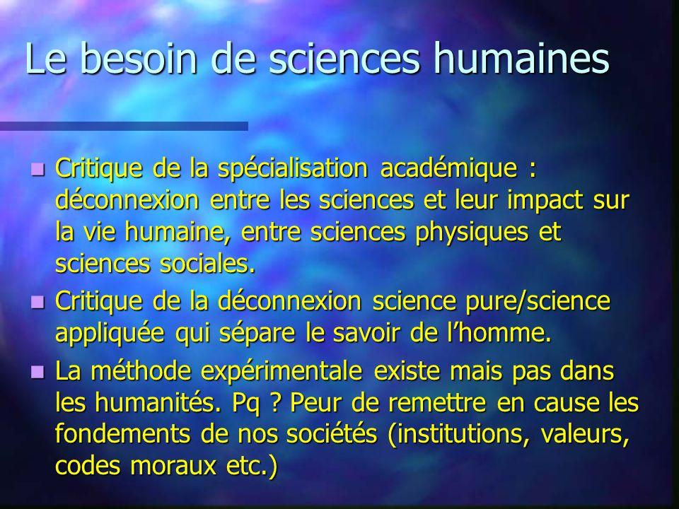 Le besoin de sciences humaines
