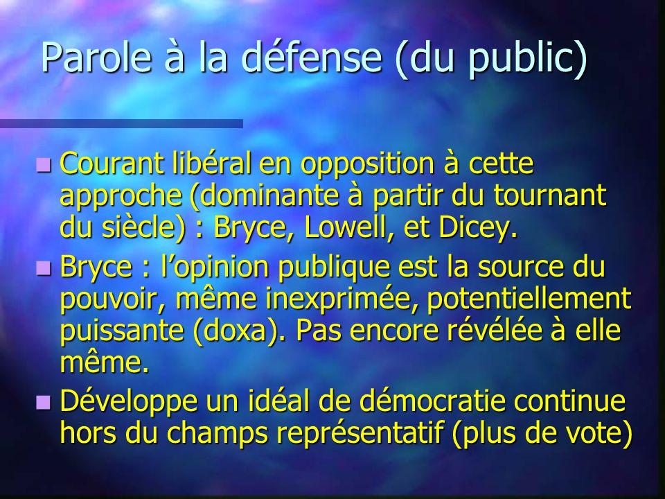 Parole à la défense (du public)