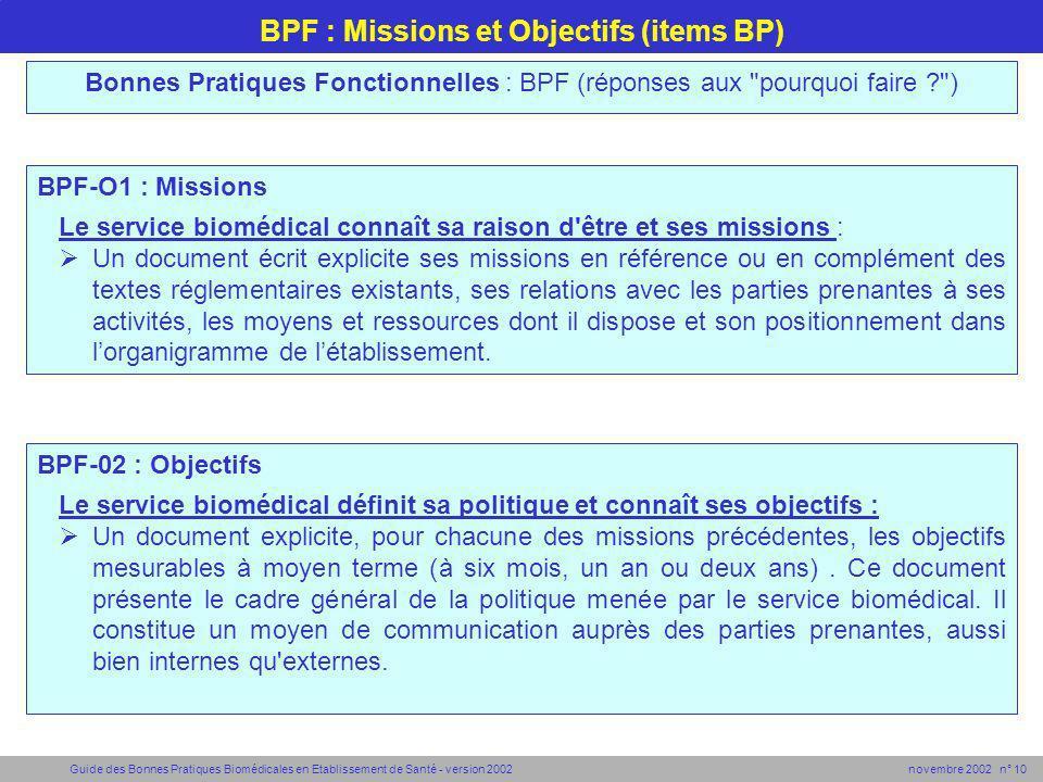 BPF : Missions et Objectifs (items BP)