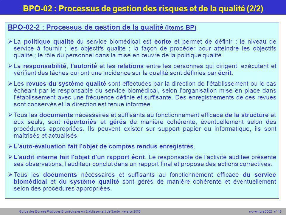 BPO-02 : Processus de gestion des risques et de la qualité (2/2)