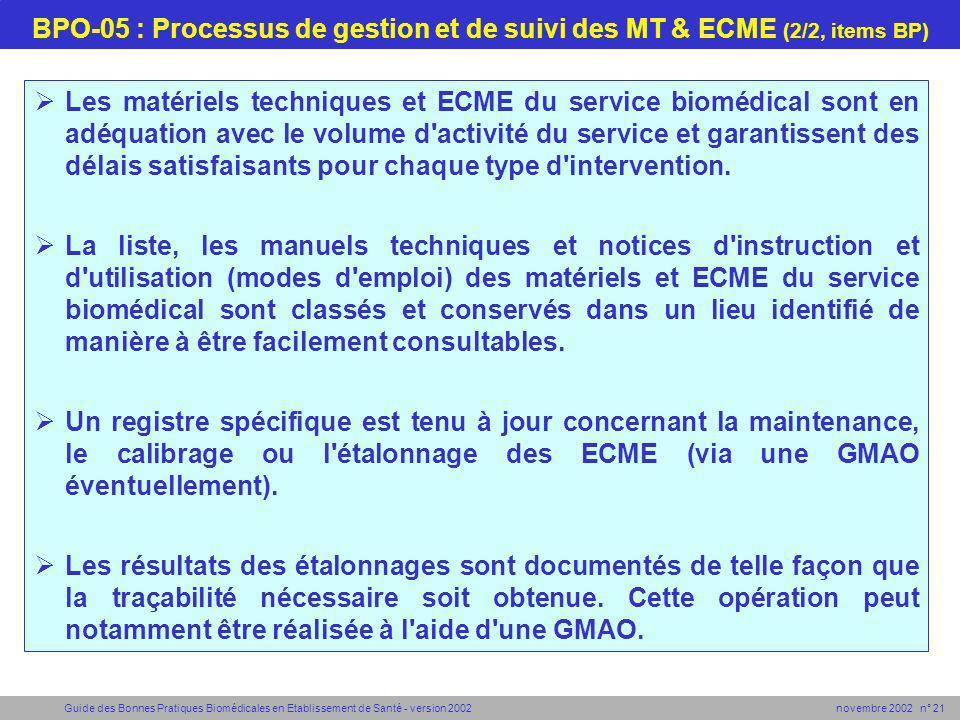 BPO-05 : Processus de gestion et de suivi des MT & ECME (2/2, items BP)