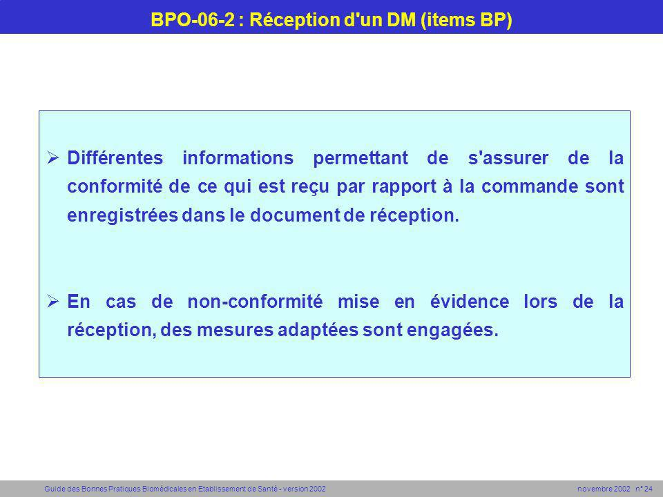 BPO-06-2 : Réception d un DM (items BP)