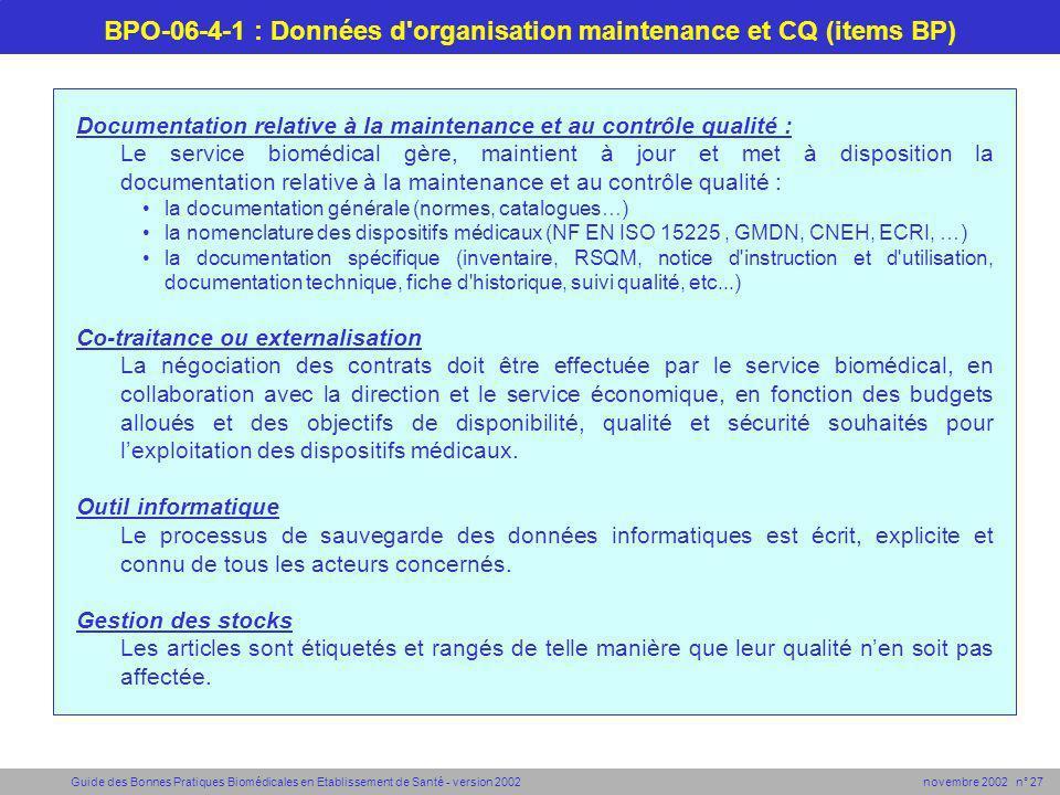 BPO-06-4-1 : Données d organisation maintenance et CQ (items BP)