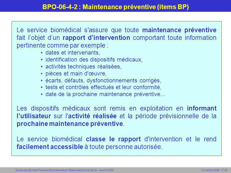 BPO-06-4-2 : Maintenance préventive (items BP)