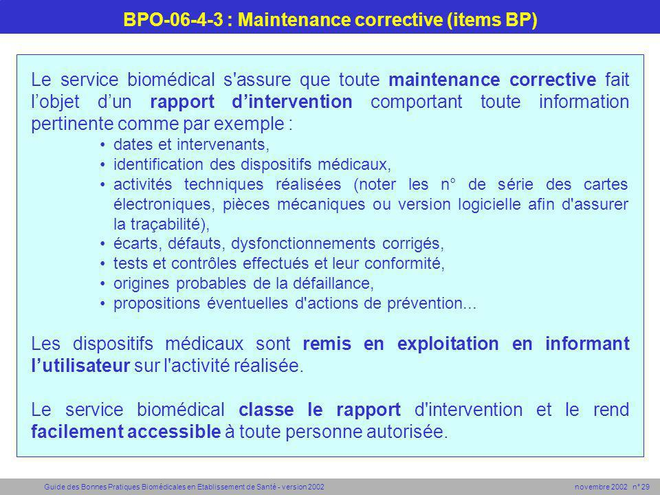 BPO-06-4-3 : Maintenance corrective (items BP)