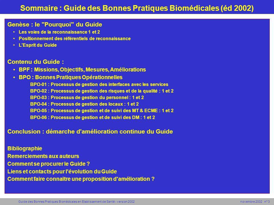 Sommaire : Guide des Bonnes Pratiques Biomédicales (éd 2002)