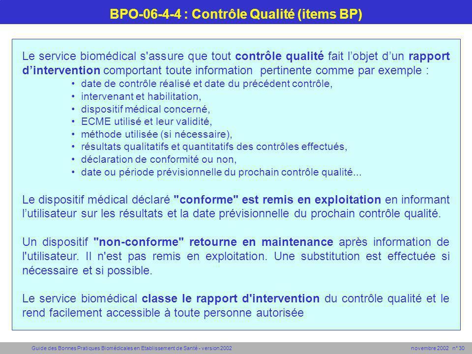 BPO-06-4-4 : Contrôle Qualité (items BP)