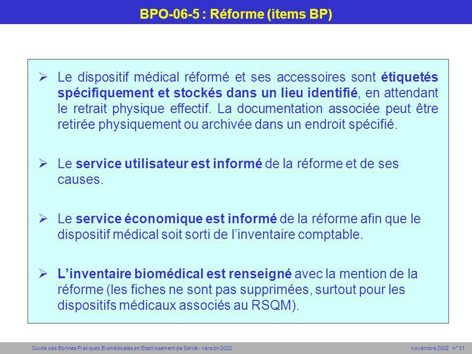 BPO-06-5 : Réforme (items BP)