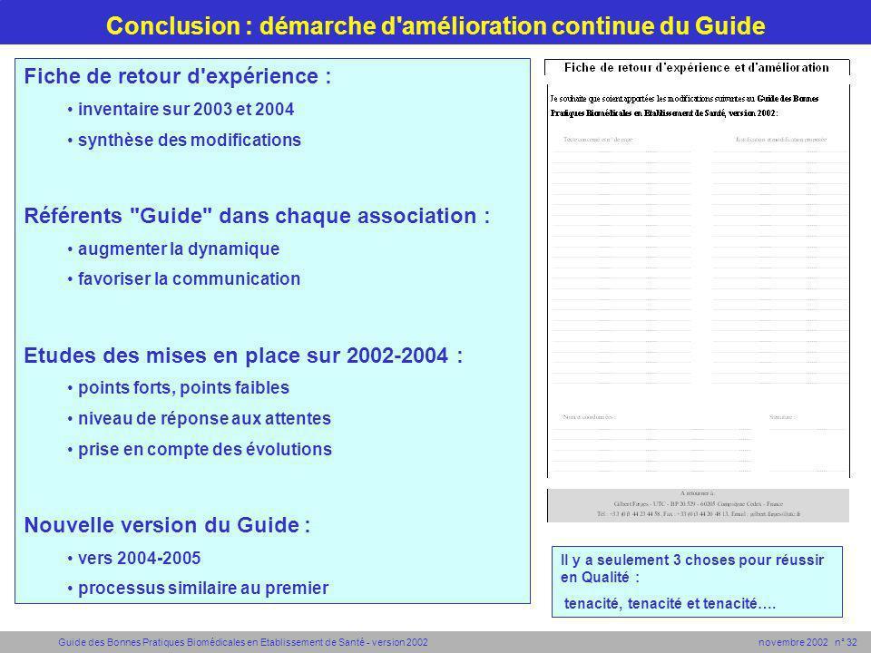 Conclusion : démarche d amélioration continue du Guide