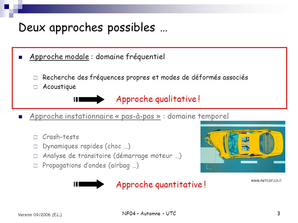 Deux approches possibles …
