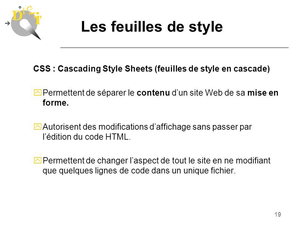 Les feuilles de style CSS : Cascading Style Sheets (feuilles de style en cascade)