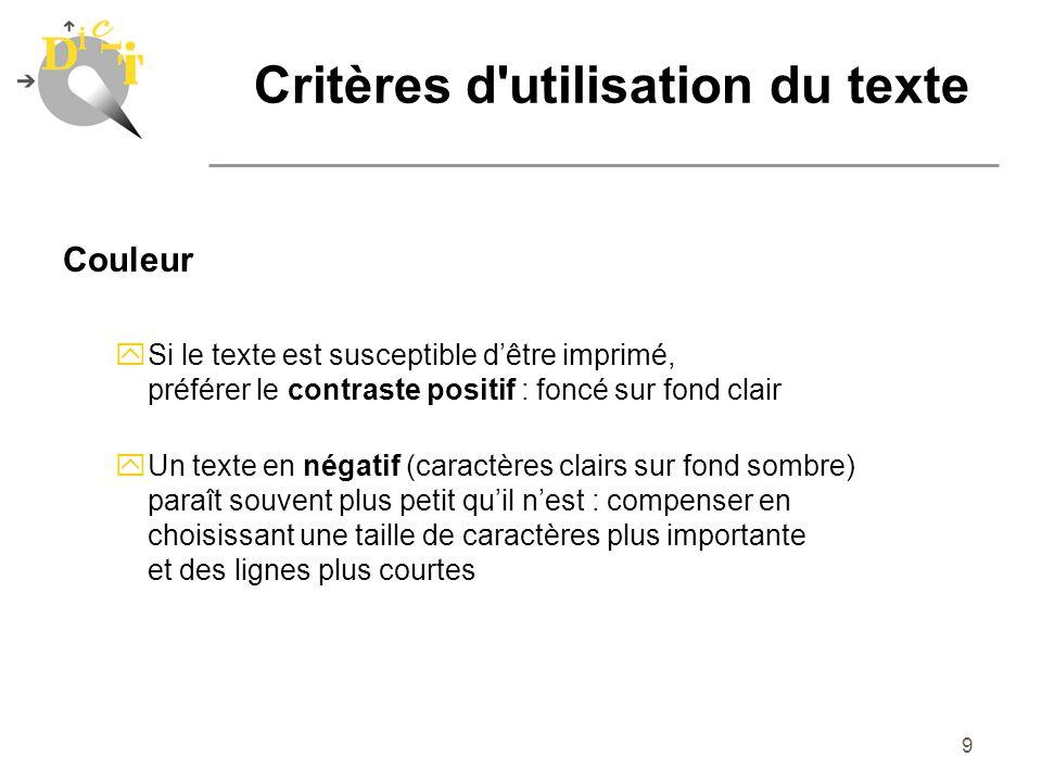 Critères d utilisation du texte