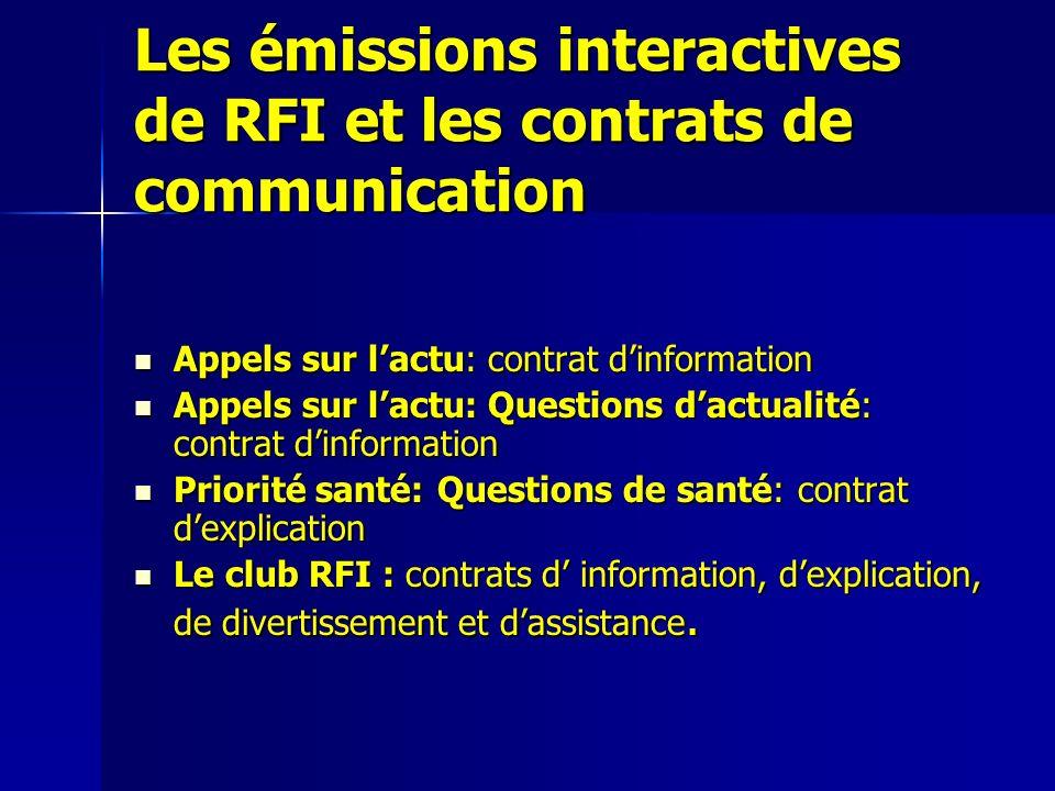 Les émissions interactives de RFI et les contrats de communication