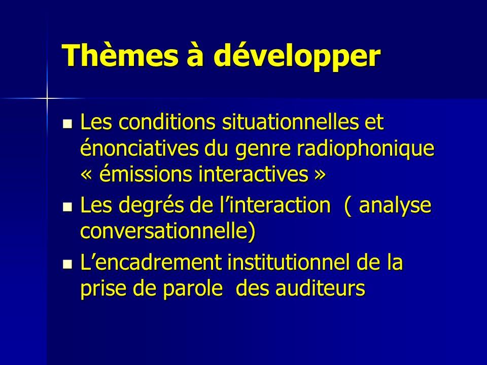 Thèmes à développer Les conditions situationnelles et énonciatives du genre radiophonique « émissions interactives »