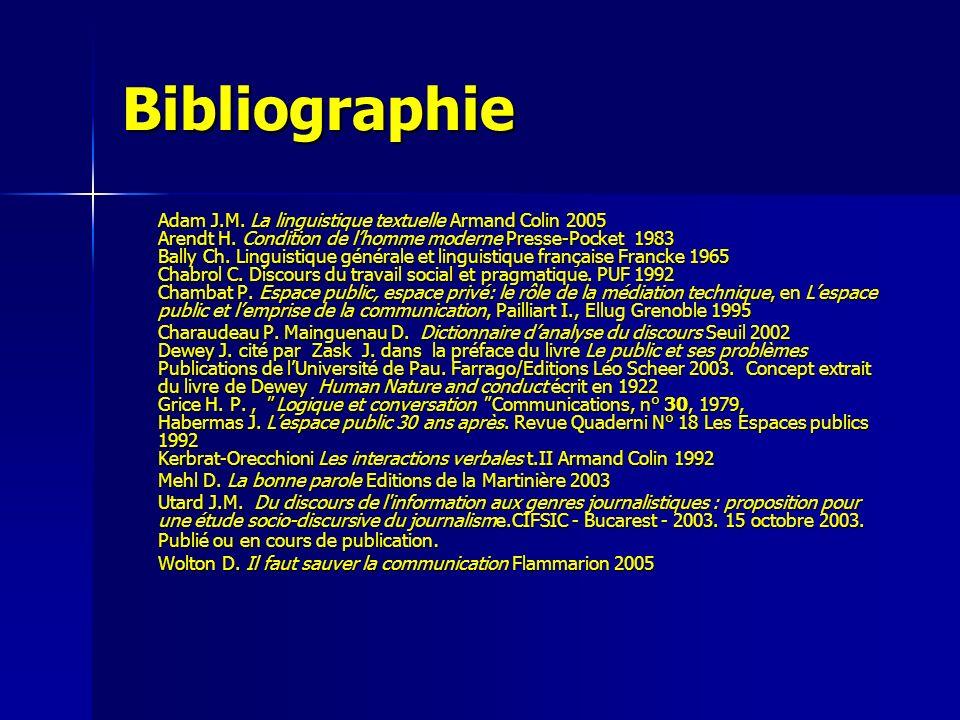 Bibliographie Adam J.M. La linguistique textuelle Armand Colin 2005