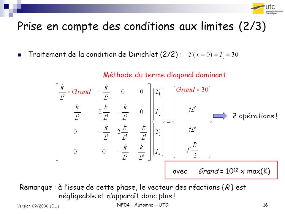 Prise en compte des conditions aux limites (2/3)
