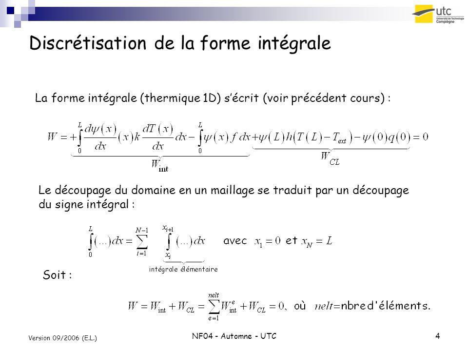 Discrétisation de la forme intégrale