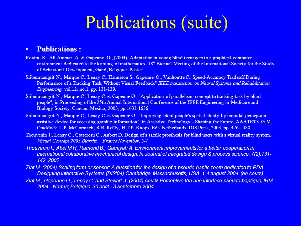 Publications (suite) Publications :