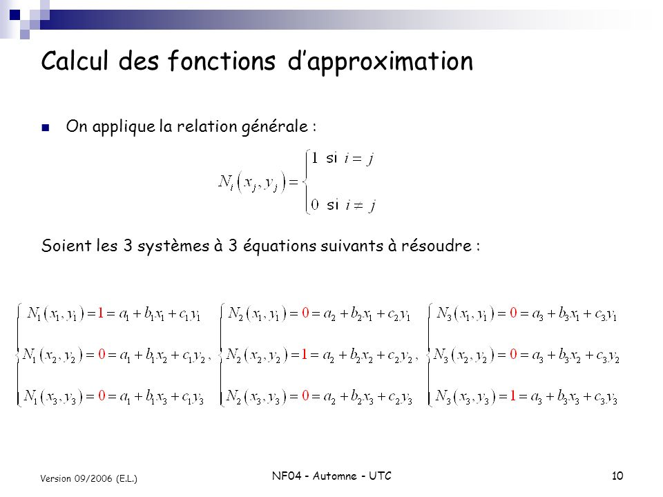 Calcul des fonctions d'approximation