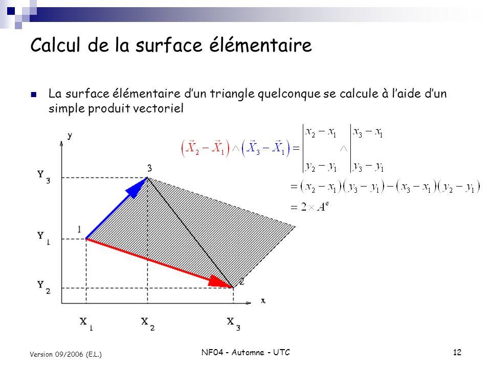 Calcul de la surface élémentaire