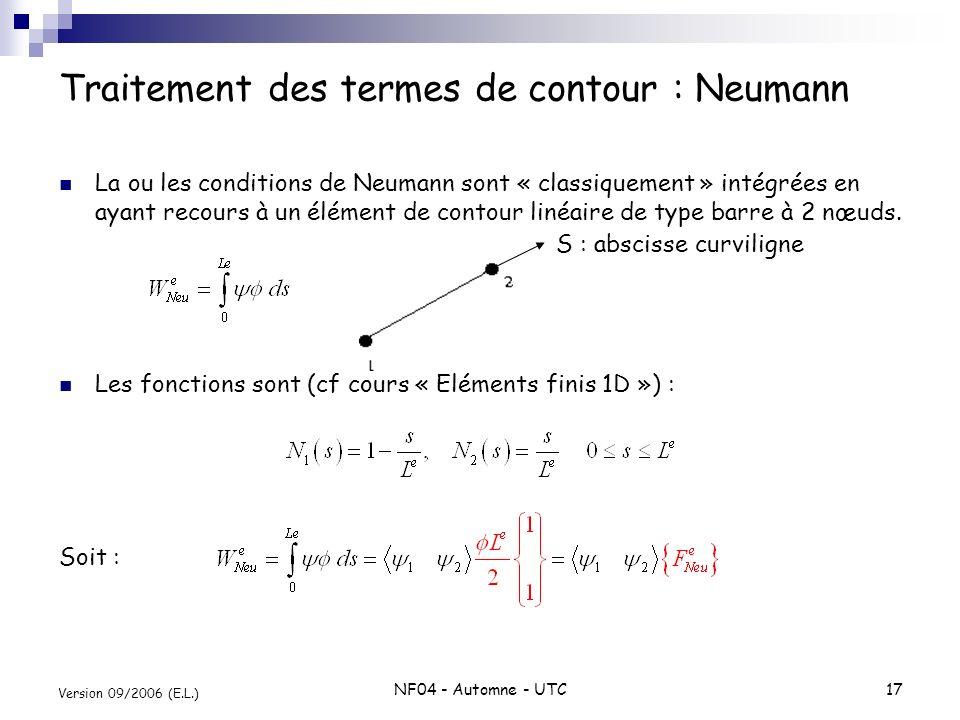 Traitement des termes de contour : Neumann