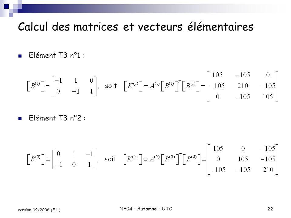 Calcul des matrices et vecteurs élémentaires