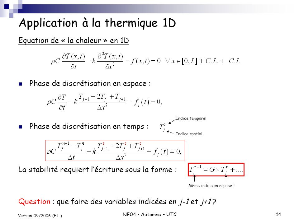 Application à la thermique 1D