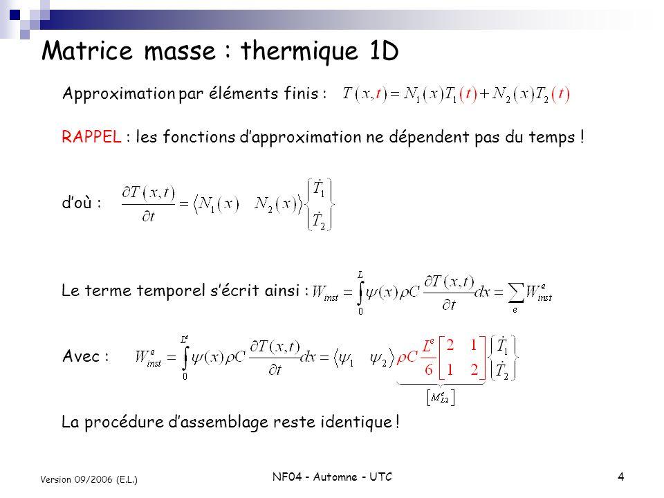 Matrice masse : thermique 1D